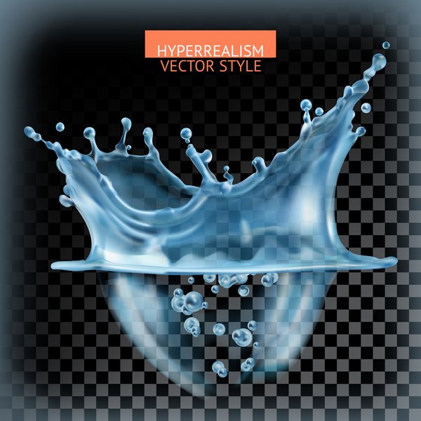 Water splash with transparency vector 02