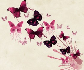 Watercolor Butterfly ink background Stock Photo