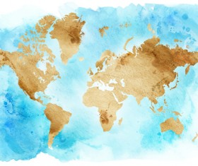 Watercolor world map vector 01