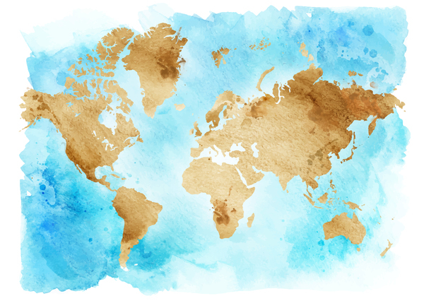 Watercolor world map vector 01 free download