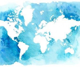 Watercolor world map vector 03