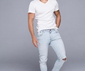 White T-shirt handsome guy Stock Photo