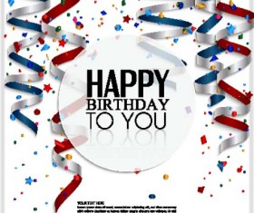 White birthday background with colored ribbon vector