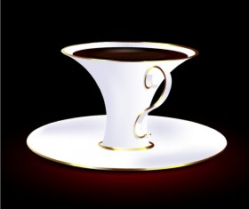 White with golden coffee cup vector