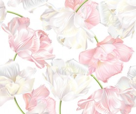 White with pink tulips pattern seamless vector
