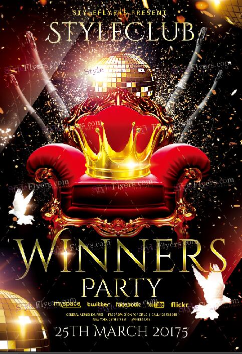 Winners party flyer psd template