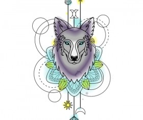Wolf with decorative illustration vector material