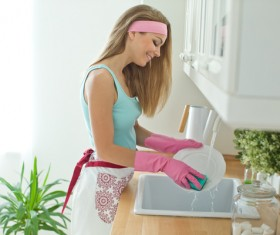 Woman doing housework cleanup Stock Photo 01