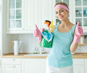 Woman doing housework cleanup Stock Photo 02