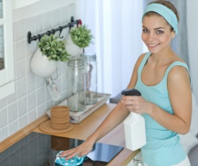 Woman doing housework cleanup Stock Photo 03