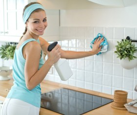 Woman doing housework cleanup Stock Photo 04