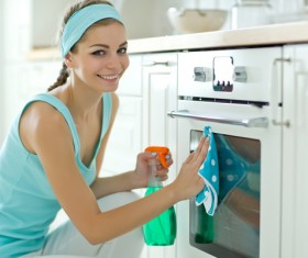 Woman doing housework cleanup Stock Photo 06