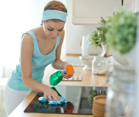 Woman doing housework cleanup Stock Photo 07
