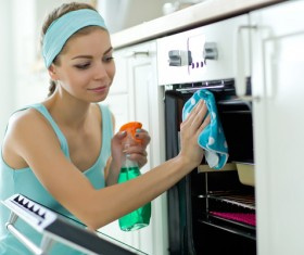 Woman doing housework cleanup Stock Photo 08