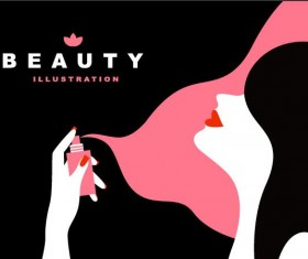 Woman with beauty illustration vector 04