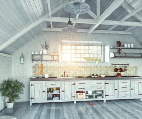 Wooden house with kitchen interior view Stock Photo