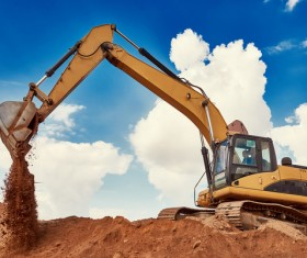 Work in the excavator Stock Photo
