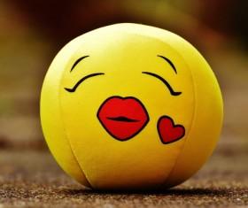 Yellow cute plush ball Stock Photo