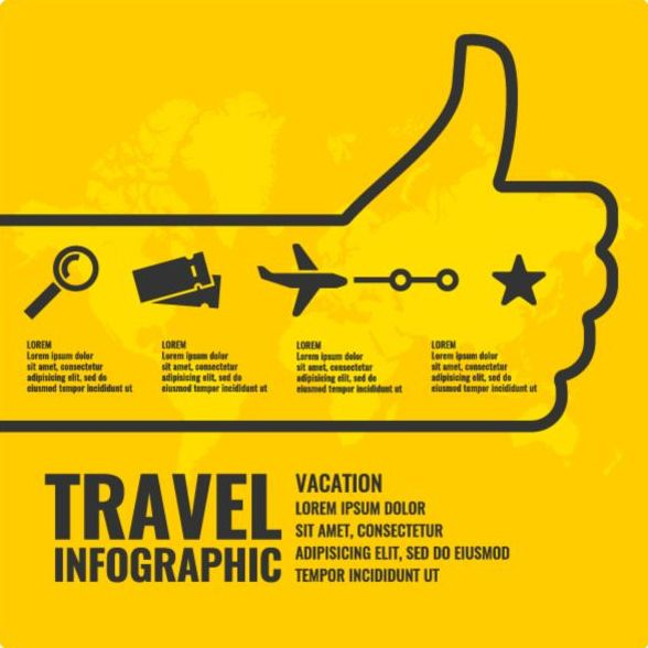Yellow travel infographic vectors