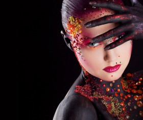 Young attractive girl in bright art-makeup HD picture 02