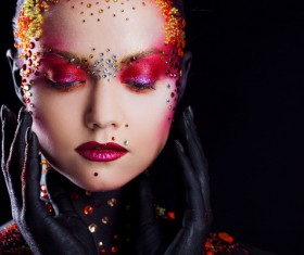 Young attractive girl in bright art-makeup HD picture 06