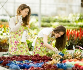 Young woman taking care of flowers Stock Photo