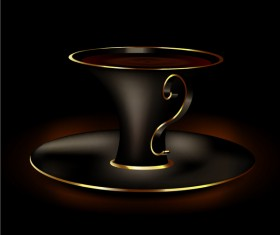 black with golden coffee cup vector