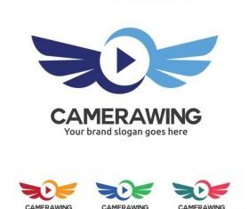camera wing logo design vector