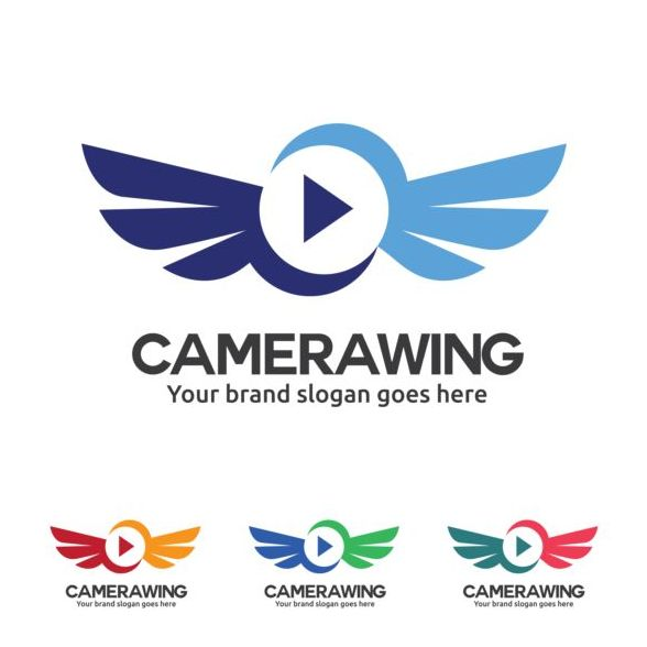 camera wing logo design vector