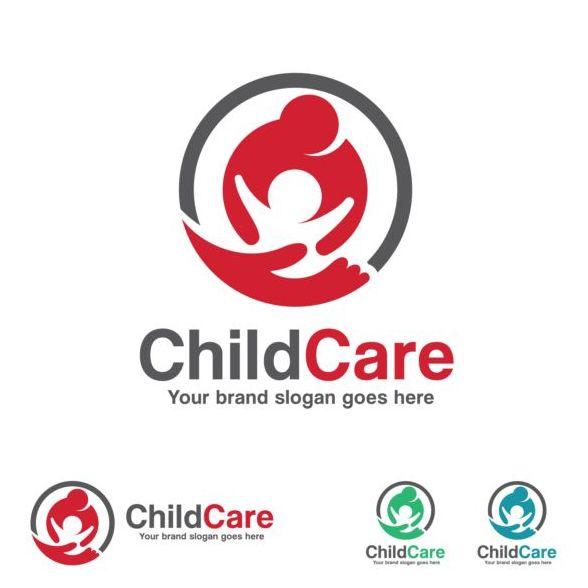 child care logo design vector
