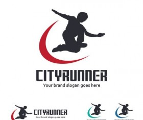 city runner logo design vector