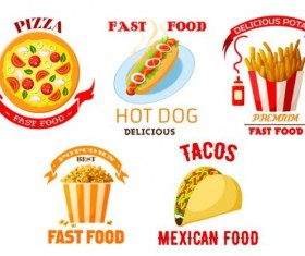 fast food labels design vector set 03
