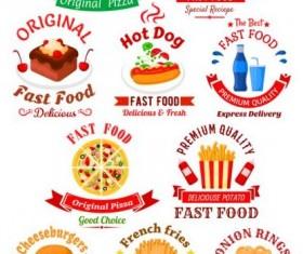 fast food labels design vector set 05