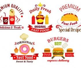 fast food labels design vector set 07