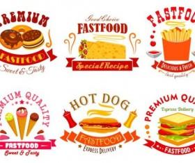 fast food labels design vector set 08