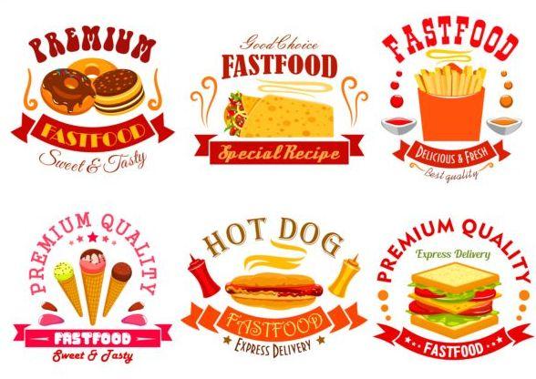 fast food labels design vector set 08 free download