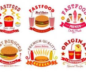 fast food labels design vector set 09