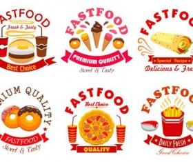 fast food labels design vector set 10