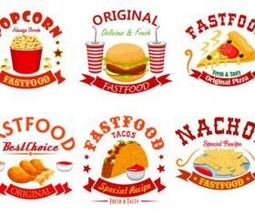 fast food labels design vector set 11