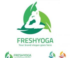 fresh yoga logo design vector