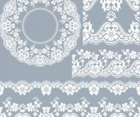 lace border with frame vectors 03