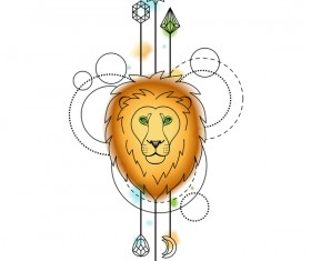 lion with decorative illustration vector