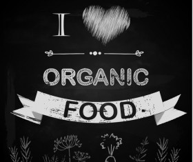 organic food with chalkboard background vector