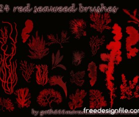 24 Kind red seaweed photoshop brushes