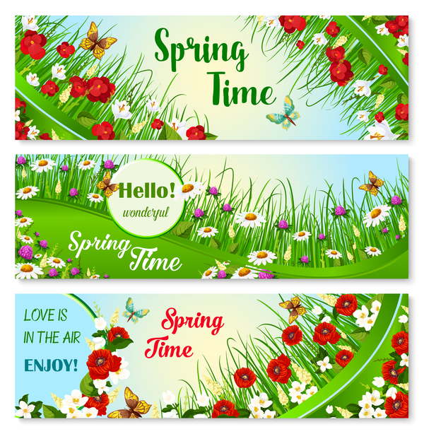 3 Kind spring flower banners vector