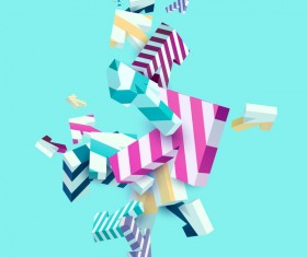 3D Arrow floral vector background