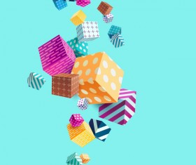 3D cube floral vector background