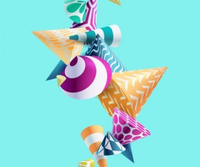 3D floral conical vector background 02