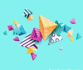 3D triangle floral vector background