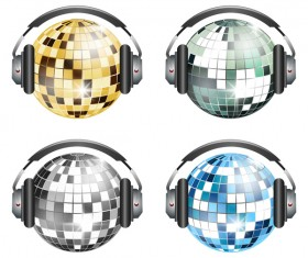 4 Kind neon ball with headset vector
